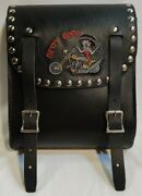 Vintage U.s.a. Genuine Leather Motorcycle Saddle Bag Ft Betty Boop On A Chopper