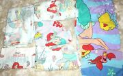 Lot Of 7 Vintage Disney Little Mermaid Twin Sheets Flat Fitted Pillowcases Fabr