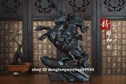 China Black Rosewood Wood Hand Carved Ride Horse Guan Gong Guanyu Warrior Statue