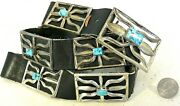 13ozt Trudy Parker Navajo Concho Belt Tufa Cast Sterling Silver Turquoise Buckle