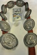 Thick And Heavy 16+ozt. Navajo Concho Belt Buckle Sterling Silver W/tan Leather
