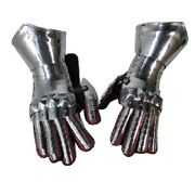 Wwi Medieval Polish 16 G Plate Steel Gothic Gauntlets Leather Glove Larp Armour