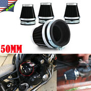 4x 50mm Universal Tapered Chrome Pod Air Filters Clean For Honda Atv Motorcycle