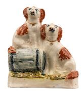 An Antique Stafforshire Pottery Dog Figure Of King Charles Spaniels