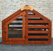 Modern Wooden Cat Dog Puppy Pet Kennel House Crate Furniture And Bed And Custom Sign