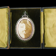 Antique Paste Large Silver And Rose Gold Oval Locket Pendant In Box / Boxed