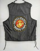 Genuine Leather Vest With Marine Corps Patches Size 48 Made In Usa