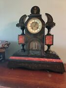 Antique French Slate And Marble Clock