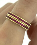 Vintage Pink Sapphire Eternity Band Ring Matching Pair 14k Yellow Gold Size 6.75