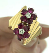Vintage 1950andrsquos Ruby And Diamond Flower Design Statement Ring 14k Gold Size 8.25