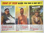 Original Vintage Wwii Poster Think Of Them Before You Take Day Off World War Usa