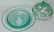 Us Glass Floral And Diamond Bandgreen W/blue Tint Butter Dish W/cover