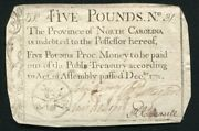 Nc-143 December 1771 Andpound5 Five Pounds North Carolina Colonial Currency Noteandnbsp