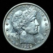 1912-d Barber Half Dollar ✪ Uncirculated Details ✪ 50c Silver L@@k Now ◢trusted◣