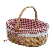 20xwicker Basket Gift Baskets Empty Oval Willow Woven Picnic Basket With Handle