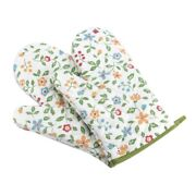 5x1 Pair Oven Mitts Floral Kitchen Gloves For Oven Cooking Grill And Bbq Non