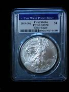 2019 W 1 American Silver Eagle Pcgs Ms70 First Strike Struck At West Point