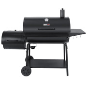 Charcoal Barrel Grill With Offset Smoker In Black
