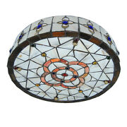 Vintage Style Stained Glass Dragonfly Flush Mount Ceiling Light Fixture