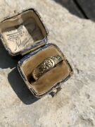 Antique Engraved 9ct Yellow Gold Belt Buckle Ring Band