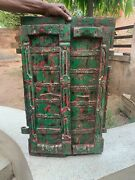 18th C Vintage Hand Painted Collectible Rare Iron Fitted Wooden Castle Fort Door