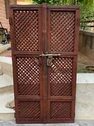 Vintage Rare Collectible Wooden Hand Carving Iron Handle Indian Jali Cut Door