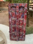 Collectible Ancient Wooden Hand Painted Iron Fitted Indian Old Haveli Fort Door