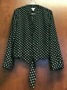 Chicos Black White Top Sz 1 Button Front Circle Geometric Long Sleeve Tie Front