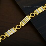 22k Yellow Gold Menand039s Bracelet Beautifully Handcrafted Diamond Cut Design 173