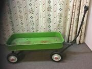 Radio Flyer Type Vintage Metal 36 X 16 Wagon - Green - Well Used - 14and039 Tall