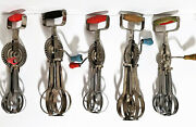 Hand Crank Blue Whirl Egg Beater Steel Blades Mixer Collectors Lot Of 5