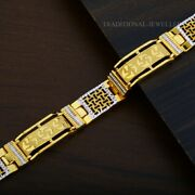 22k Yellow Gold Menand039s Bracelet Beautifully Handcrafted Diamond Cut Design 191