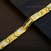 22k Yellow Gold Menand039s Bracelet Beautifully Handcrafted Diamond Cut Design 198