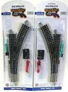 Ho Scale - Bachmann Silver Ez Track Left And Right Switches Model Railroad Trains