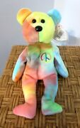 Ty Beanie Baby 5th Gen. Neon Peace Bear Brand New W/ Rare Indonesian Mint Tags