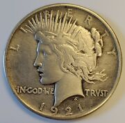 1921-p Peace Silver Dollar High Relief 1 With Au+ Details