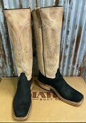 Olathe Black Smooth Hippo W/16 Ivory Madcat Cutter Toe Cowboy Boots-usa Made