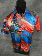 Mens Veronelli Short Sleeve Shirt Blue Red Geometric Patterns Silky Material