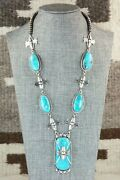 Turquoise And Sterling Silver Necklace - Raymond Delgarito