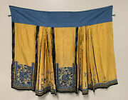Antique Chinese Yellow Skirt Robe Textile