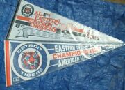 Two 1987 Tigers American League Eastern Division Champs Pennants W/sleeves Sharp