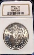 Choice Ms65 1882-s Morgan Silver Dollar Ngc Ms-65 Oh Exquisite Frosty Gem