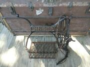 Antique 1930 Singer Treadle Sewing Machine Cast Iron Base Parts Wheel And Pedal