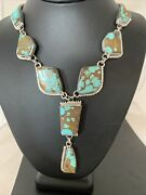 Nwot Lariat Navajo Handmade Sterling Silver Turquoise8 Necklace Pendant 02038
