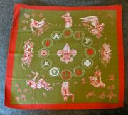 Vintage 40s 50s 60s Olive Green And Red Boy Scout Neckerchief Merit Badges