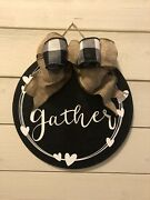 Gather Hanging Sign Wood Farmhouse Home Decor 12