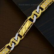 22k Yellow Gold Menand039s Bracelet Beautifully Handcrafted Diamond Cut Design 200
