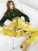 Most Coveted Old Celine Yellow Crushed Velvet Pants 36