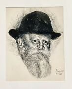Beautiful Original Pencil Drawing Of The Lubavitcher Rebbe Framed And Matted