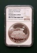 2008 Australia Year Of The Mouse 1 Oz Silver Proof Coin Ngc Pf 68 Ultra Cameo